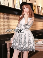 Gabby Elegant Monochrome Floral Embroidered Satin and Tulle Dress