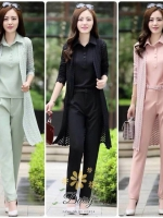เสื้อผ้าเกาหลี พร้อมส่งชุดเซท 3 ชิ้น เสื้อแขนกุด+เสื้อคลุมตัวยาว+กางเกงขายาว