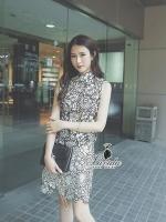 elegant floral lace sleeveless top pretty skirt set