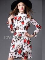 ชุดเดรสเกาหลี พร้อมส่งเดรสผ้าชีฟองพิมพ์ลายดอกกุหลาบสีแดงเนื้อผ้ายับอัดพีท