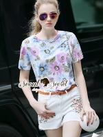 เสื้อผ้าเกาหลี พร้อมส่งChill Softly Blossom Print Blouse Chic Sakura Stick Shorts Set