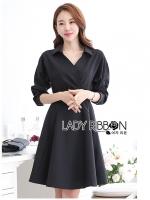 เสื้อผ้าเกาหลี พร้อมส่งเชิ้ตเดรสแขนยาวสีดำพร้อมเข็มขัดสไตล์มินิมัลชิค