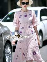 ชุดเดรสเกาหลี พร้อมส่งGirly Pinky Flora Stick Lace Dress