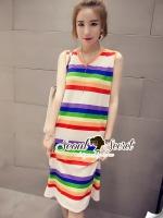 ชุดเดรสเกาหลี พร้อมส่งRianBow Layer Cutie Knit Dress