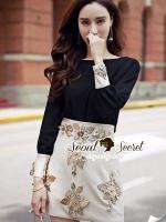 เสื้อผ้าเกาหลี พร้อมส่งFashionisly Diamond Flora Stick Skirt Set