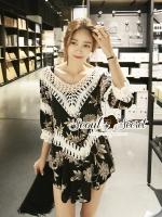 เสื้อผ้าเกาหลี พร้อมส่งKnitty Black Laf Beachy Dress