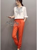 เสื้อผ้าเกาหลี พร้อมส่งชุดเซตเสื้อกับกางเกงสีส้ม