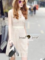 ชุดเดรสเกาหลี พร้อมส่งCreamy Lacely Princess Dress