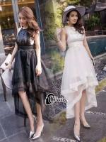 ชุดเดรสเกาหลี พร้อมส่ง Long Dress ช่วงบนทำด้วยผ้าตาข่ายลายลูกไม้