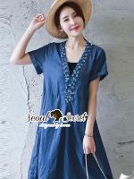 ชุดเดรสเกาหลี พร้อมส่งSequinny V Furnish Denim Dress