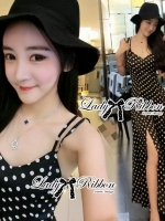 Nikki Chilling Basic Polka Dot Maxi Dress
