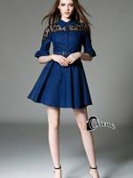 Noura Lace Shoulder Denim Dress