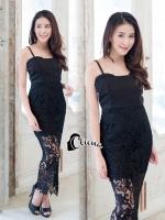 ชุดเดรสเกาหลี พร้อมส่งLuxury Lace Shoulder Off Dress