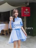 ชุดเดรสเกาหลี พร้อมส่งเดรสเชิ๊ตสีฟ้าคอปกกระดุมหน้าผ้า Cotton เนื้อดี