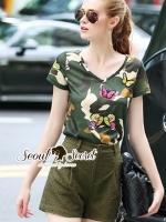 เสื้อผ้าเกาหลี พร้อมส่งFashionista Seoulgirl Greeny Set
