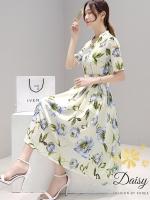 ชุดเดรสเกาหลี พร้อมส่งชุดเดรสผ้าซาตินซิลพิมพ์ลายดอกไม้