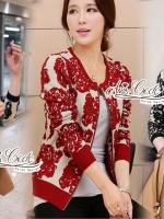 Retro winter black and red knit crochet jacket