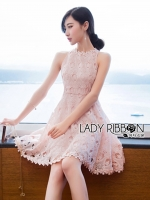 Sarah Pretty Sleeveless Embellished Baby Pink Lace Dress