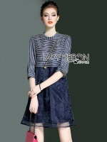 Kathie Striped Cotton and Organza Dress with Necklace