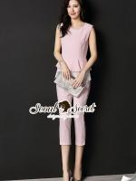 เสื้อผ้าเกาหลี พร้อมส่งLacly Tail Furnish Salmon Pink Nifty Set