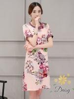 ชุดเดรสเกาหลี พร้อมส่งGucci เดรสผ้ายืดโพลี่พิมพ์ลายดอกไม้