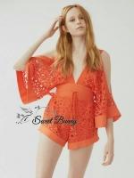 Cape sleeve lace orange jumpsuit