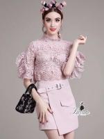 elegant pastel pink lace diva skirt set