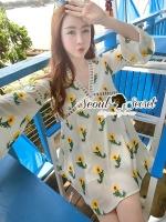 ชุดเดรสเกาหลี พร้อมส่งChic Yellow Blossom Sweety Dress