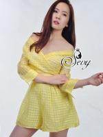 Open Shoulder Sweet Yellow Playsuit