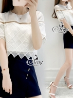 Two Pieces Of Lace Blouse With Oblique Shorts Sets