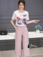 เสื้อผ้าเกาหลี พร้อมส่งPastel Tone Water Drawing Top + Pant Set