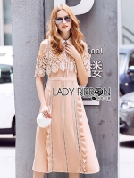 Lily Cut-Out Old-Rose Collared Shirt Dress