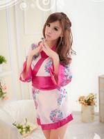 ชุดกิโมโนคอสเพลย์เซ็กซี่ สไตล์ญ่ปุ่น ลายดอกไม้สีชมพูเรียบหรู
