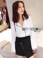 Grace Minimal Chic Monochrome White Shirt and Black Shorts Set