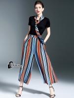 เสื้อผ้าเกาหลี พร้อมส่งColorfull Line 3 pcs Set Top + Scarf + Pant