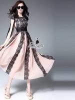 noble striped luxury lace sleeveless maxi dress