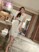Hollow lace tie waist ivory dress