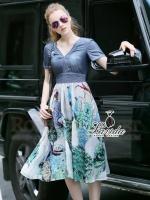 ชุดเดรสเกาหลี พร้อมส่งเดรสดีไซร์สุดเก๋ ตัวเสื้อใช้ผ้าdenimฟอกสีสวย