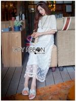 ชุดเดรสเกาหลี พร้อมส่งเดรสยาวผ้าลูกไม้ปักดอกกุหลาบสีขาวสไตล์เจ้าหญิงโบฮีเมียน