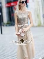 ชุดเดรสเกาหลี พร้อมส่งGoldy SeQuinny Party Dress