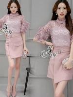 เสื้อผ้าเกาหลี พร้อมส่งBlouse Lace With Skirt