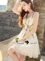 ชุดเดรสเกาหลี พร้อมส่งViolatta Bloom Creamy Cami Dress