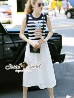 ชุดเดรสเกาหลี พร้อมส่งPineapple Stripe Chic Dress