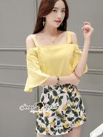 เสื้อผ้าเกาหลี พร้อมส่งLemon Smocking Open Cami Shoulder Yellow Set