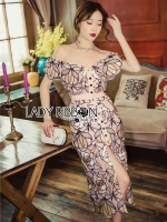 Jane Off-Shoulder Button-Down Flower Embroidered Dress