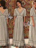 ชุดเดรสเกาหลี พร้อมส่งBohemian Style V-Neck Short Sleeve Maxi Dress