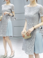 Sky Blue Lace Chiffon Pleat Mini Dress
