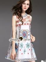 เสื้อผ้าเกาหลี พร้อมส่งGirly Blossom Bohe Style Stickly Set