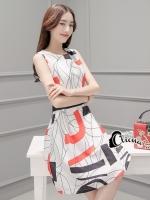 ชุดเดรสเกาหลี พร้อมส่ง Modern Graphic Dress
