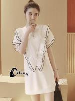 เสื้อผ้าเกาหลี พร้อมส่งเดรสเชิ๊ตคอกลมสีขาว